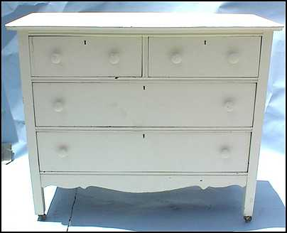 what                     kind of paint job on old furniture? antiqued white                     enamel, low gloss