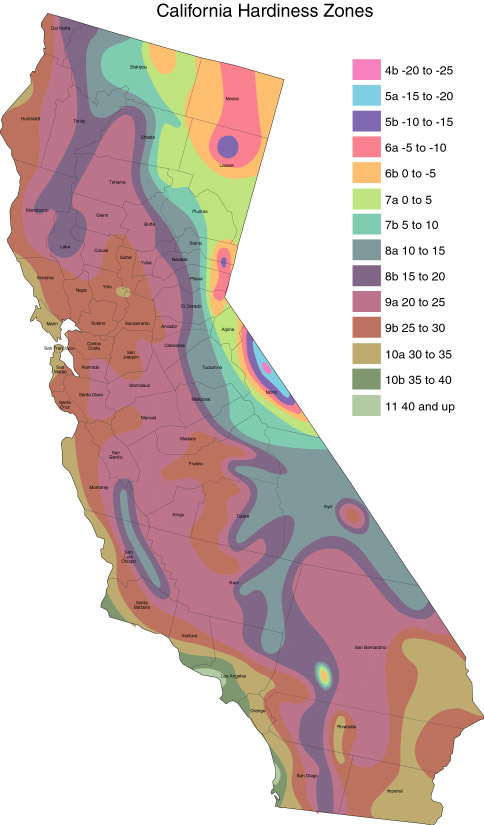 WHERE THE FREEZES ARE IN CALIFORNIA,                 Graphic to help you pick your NEW FARM ACREAGE