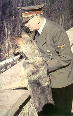 Blondi, Hitler's dog shown with Adolph