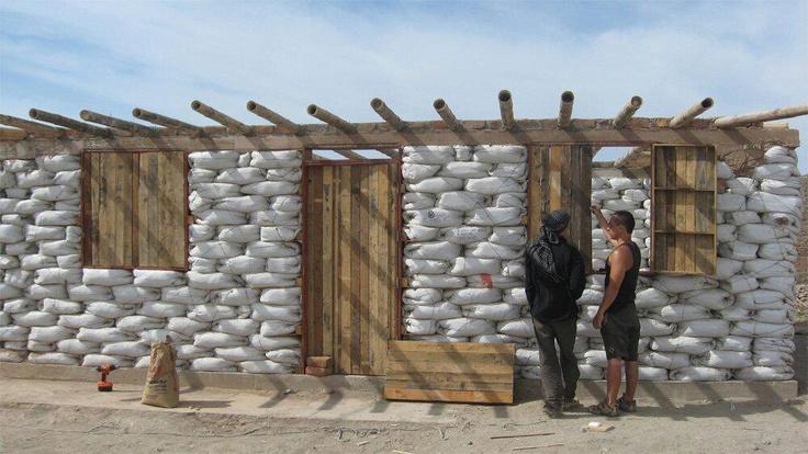 sand bag HOUSES are good TEMP HOMES