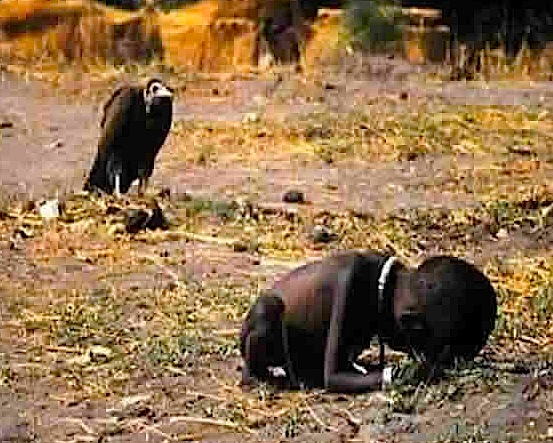 VULTURE waiting to eat child, actual Africa current time famine. Photog suicided later.